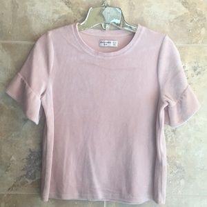 Abercrombie girls soft pink velvet top